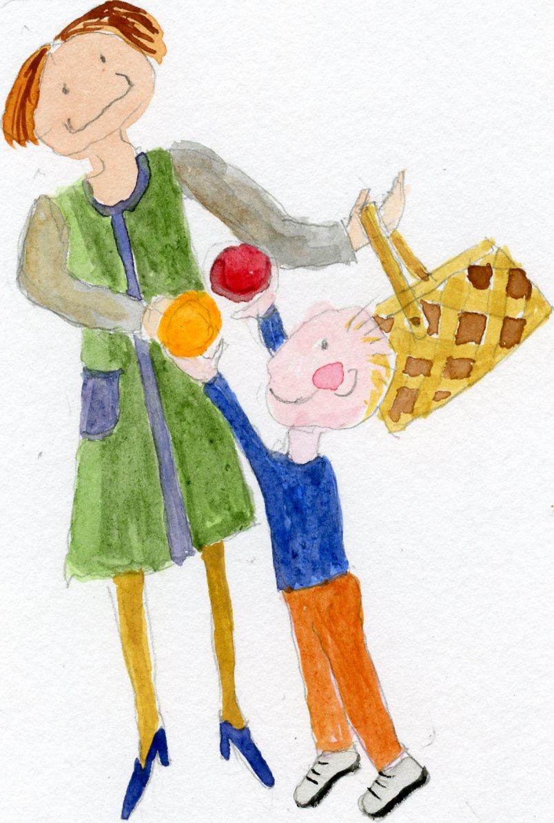 Äiti ja lapsi sieniä keräämässä.