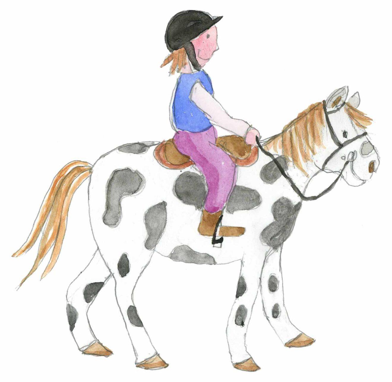 Lapsi ratsastaa hevosella.