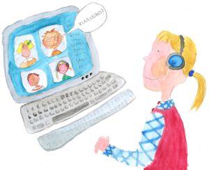 """Lapsi tietokoneen ääressä. Tietokoneen kuvaruudussa toisten lasten kasvoja ja puhekuplassa lukee """"Kuuluuko?""""."""
