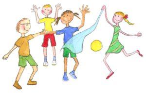Lapsia leikkimässä huivin ja pallon kanssa.