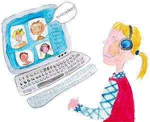 Tyttö tietokoneen ääressä.