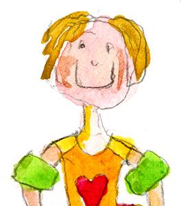 Iloinen tyttö, jolla on uimakellukkeet käsissä ja sydän uimapuvun rinnuksessa.