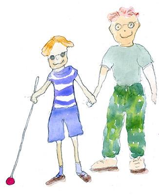 Näkövammainen poika ja avustaja.