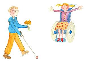 Kukat kädessä pojalla - tyttö pyorätuolissa iloitsee.