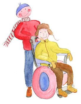 Kuntoutus-kuva. Pyörätuolissa istuu kuntoutuja, jota toinen henkilö kuljettaa.