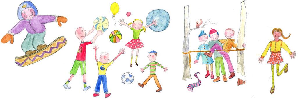 Leikit ja harrastukset -kuva. Lautaulua, pallopelejä ja leikkimistä.