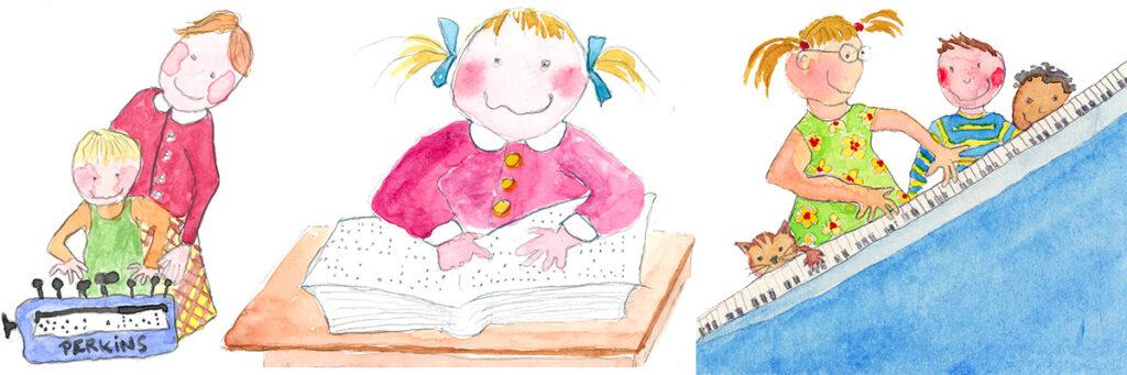 Meidän tarinamme -kuva. Toimintaa: pistekirjoituskoneella kirjoitusta, lukemista, pianonn soittoa.