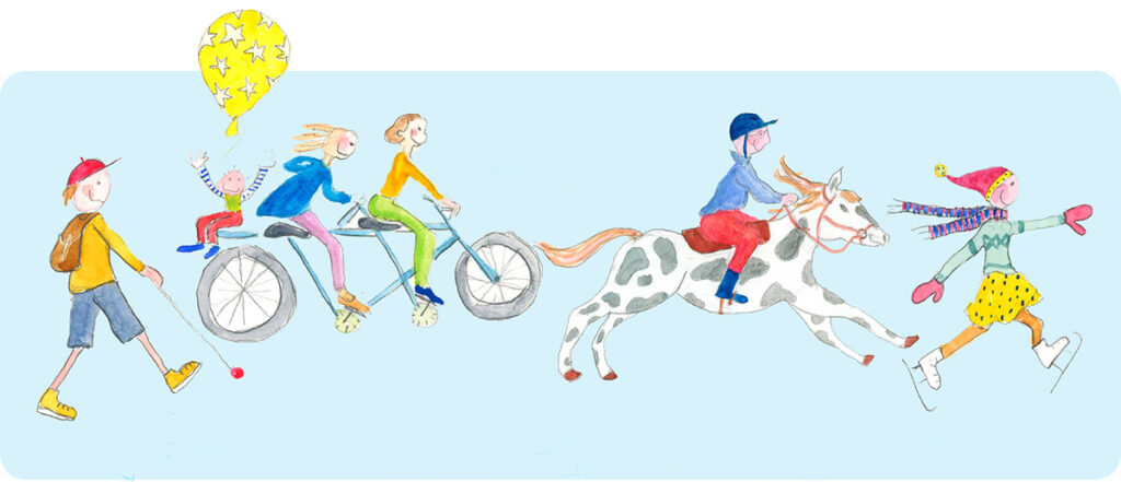 Yhdistys - kuva, jossa lapsia kävelee, pyöräilee, ratsastaa, luistelee.