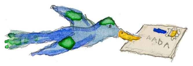 Sinisorsa lentää ja kantaa nokassaan kirjekuorta.