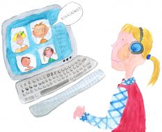Lapsi tietokoneen ääressä. Tietokoneen kuvaruudussa toisten lasten kasvoja ja puhekuplassa lukee