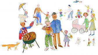Perheet yhdessä grillaamassa, leikkimässä ja juttelemassa.